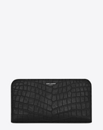 CLASSIC SAINT LAURENT PARIS ZIP AROUND WALLET IN BLACK Crocodile Embossed Leather