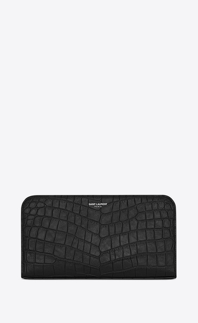 SAINT LAURENT Saint Laurent Paris SLG U grand portefeuille zippé saint laurent paris en cuir noir embossé façon crocodile a_V4