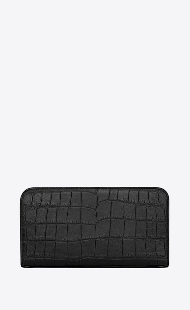 SAINT LAURENT Saint Laurent Paris SLG U CLASSIC SAINT LAURENT PARIS ZIP AROUND WALLET IN BLACK Crocodile Embossed Leather b_V4
