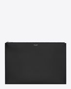 SAINT LAURENT Saint Laurent Paris SLG U classic saint laurent paris document holder in black grain de poudre textured leather f