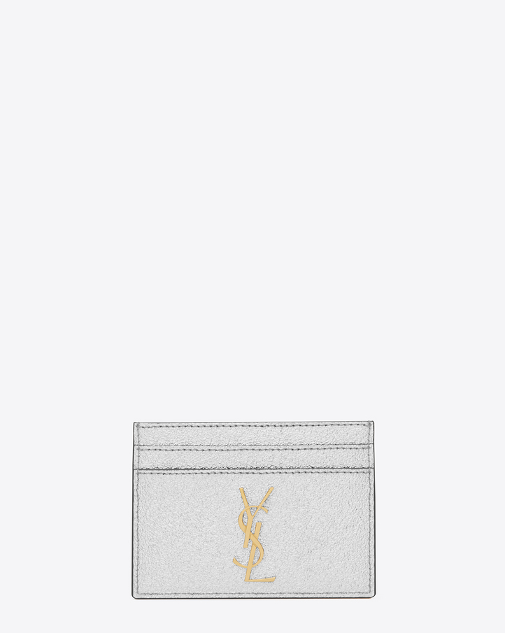 Saint laurent monogram credit card case in silver grained for Porte carte ysl