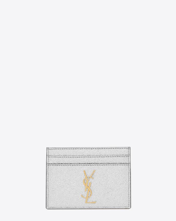 saint laurent monogram credit card case in silver grained On porte carte ysl