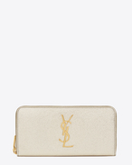 MONOGRAM SAINT LAURENT Zip Around Wallet in Pale Gold Grained Metallic Leather