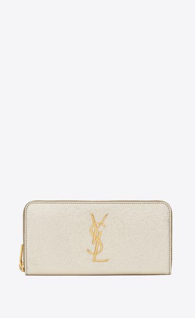 SAINT LAURENT Monogram D monogram zip around wallet in pale gold grained metallic leather a_V4