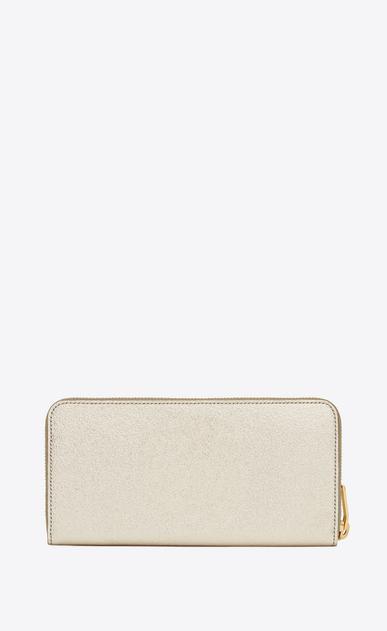 SAINT LAURENT Monogram D monogram zip around wallet in pale gold grained metallic leather b_V4