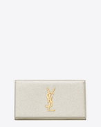 Large MONOGRAM SAINT LAURENT Flap Wallet in Pale Gold Grained Metallic Leather