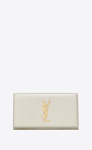 SAINT LAURENT Monogram D large monogram flap wallet in pale gold grained metallic leather a_V4