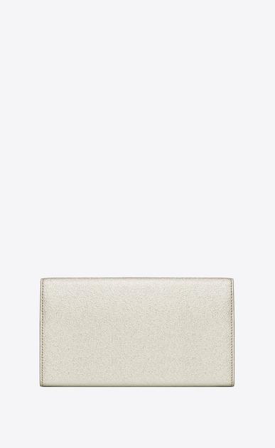 SAINT LAURENT Monogram D large monogram flap wallet in pale gold grained metallic leather b_V4