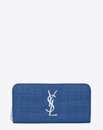 SAINT LAURENT Monogram D MONOGRAM SAINT LAURENT Zip Around Wallet in Royal Blue Crocodile Embossed Leather f