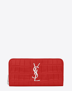MONOGRAM SAINT LAURENT Zip Around Wallet in Red Crocodile Embossed Leather
