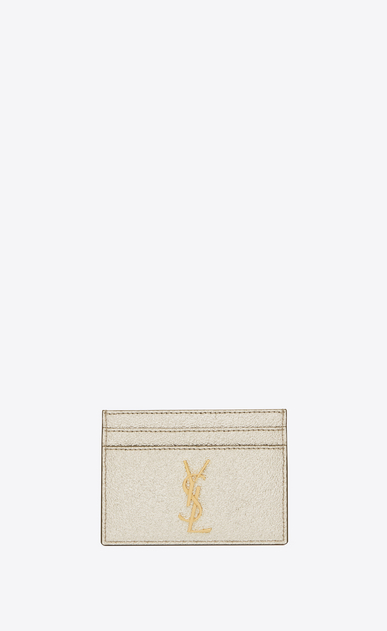 SAINT LAURENT Monogram D monogram credit card case in pale gold grained metallic leather a_V4