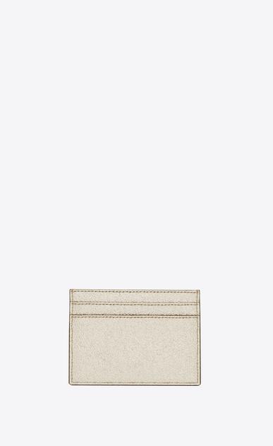 SAINT LAURENT Monogram D monogram credit card case in pale gold grained metallic leather b_V4