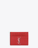 MONOGRAM SAINT LAURENT Credit Card Case in Red Crocodile Embossed Leather