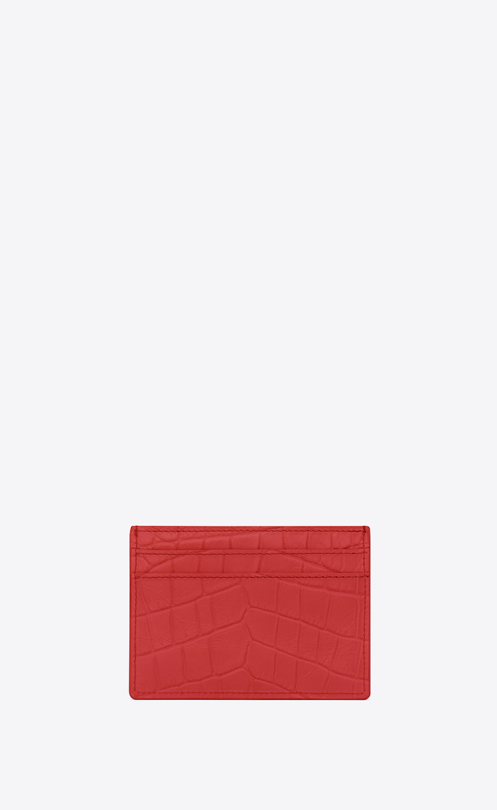 57a0a5b720ca Zoom  MONOGRAM SAINT LAURENT Credit Card Case in Red Crocodile Embossed  Leather
