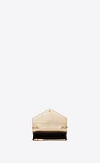 41762362b829 Zoom  MONOGRAM SAINT LAURENT Envelope chain Wallet in Pale Gold Lizard  Embossed Metallic Leather