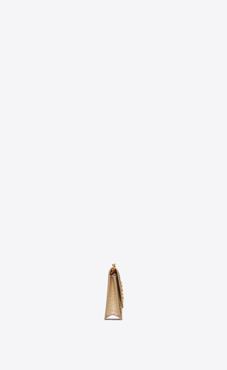 Zoom  MONOGRAM SAINT LAURENT Envelope chain Wallet in Pale Gold Lizard  Embossed Metallic Leather ddd0f288c1323