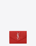Small MONOGRAM SAINT LAURENT Envelope Wallet in Red Crocodile Embossed Leather