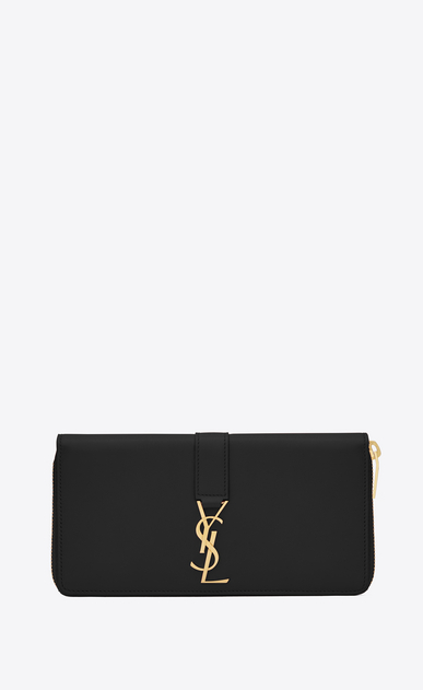 SAINT LAURENT YSL line Donna Portafogli YSL con zip integrale nero in pelle a_V4