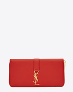 YSL Zip Around Wallet in Red Leather