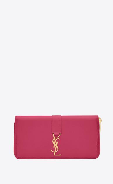 SAINT LAURENT YSL line D YSL Zip Around Wallet in Lipstick Fuchsia Leather a_V4