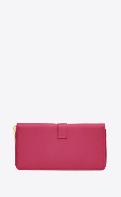SAINT LAURENT YSL line D YSL Zip Around Wallet in Lipstick Fuchsia Leather b_V4