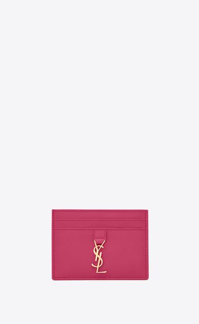 SAINT LAURENT YSL line D YSL Credit Card Case in Lipstick Fuchsia Leather a_V4