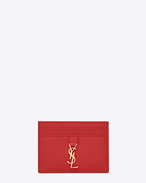 SAINT LAURENT YSL line D YSL Credit Card Case in Red Leather f