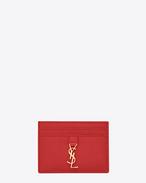 SAINT LAURENT YSL line D Porte-cartes YSL en cuir rouge f