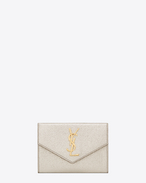 small monogram envelope wallet in pale gold grained metallic leather