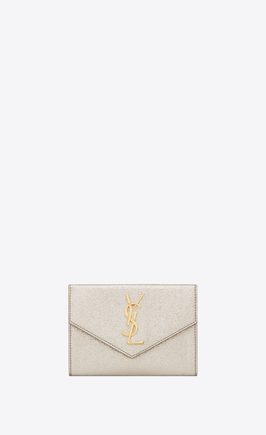 SAINT LAURENT Monogram D portafogli small monogram envelope color oro pallido in pelle martellata metallizzata a_V4