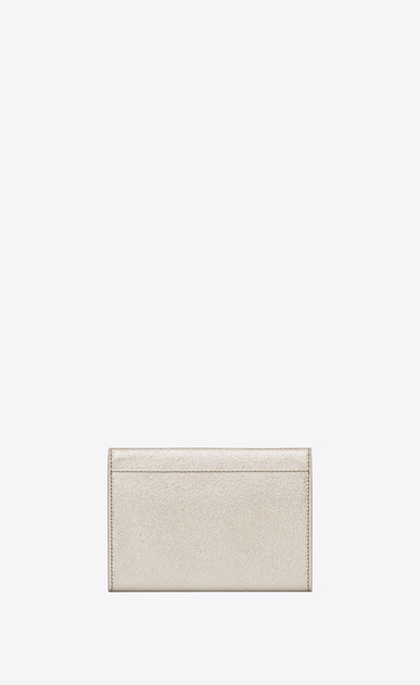 SAINT LAURENT Monogram D small monogram envelope wallet in pale gold grained metallic leather b_V4