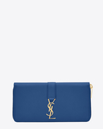 YSL Zip Around Wallet in Royal Blue Leather
