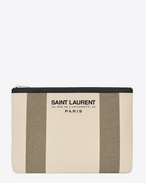 SAINT LAURENT Beach SLG D BEACH Tablet Pouch in Light Beige and Khaki Canvas and Black Leather f