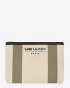 SAINT LAURENT Beach SLG D Étui pour tablette BEACH en toile beige clair et kaki et cuir noir f