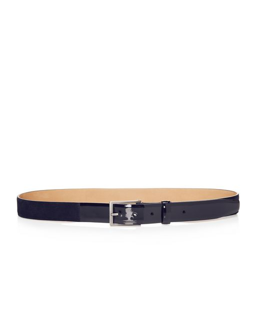 lanvin 30mm belt in velvet and patent calfskin  men