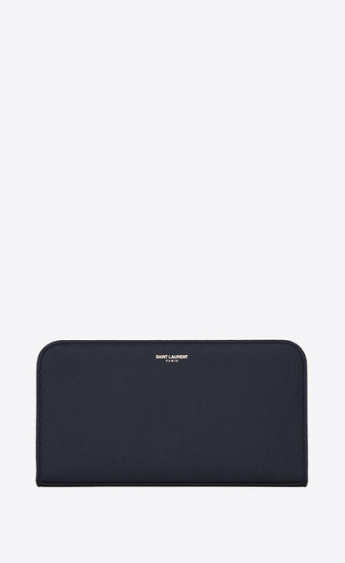 SAINT LAURENT Saint Laurent Paris SLG U CLASSIC SAINT LAURENT PARIS ZIP AROUND WALLET IN NAVY BLUE GRAIN DE POUDRE TEXTURED LEATHER a_V4