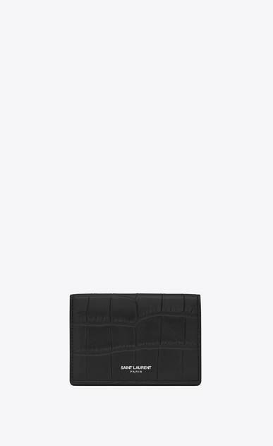 SAINT LAURENT Saint Laurent Paris SLG U Classic SAINT LAURENT PARIS Business Card Case in Black Crocodile Embossed Leather a_V4