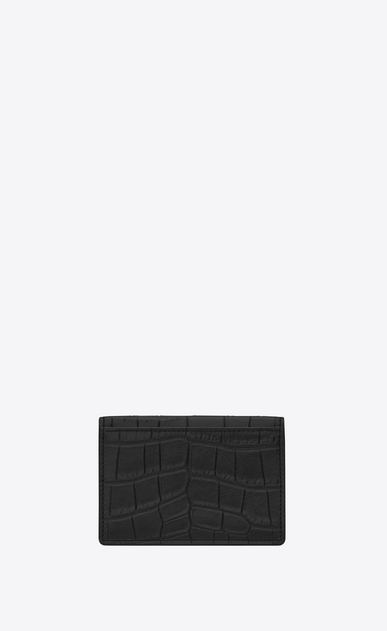 SAINT LAURENT Saint Laurent Paris SLG U Classic SAINT LAURENT PARIS Business Card Case in Black Crocodile Embossed Leather b_V4