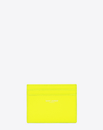Classic SAINT LAURENT PARIS card case in Neon Yellow Grain de Poudre Textured Leather