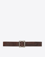 SAINT LAURENT Classic Belts U Dylan Buckle Belt in Vintage Brown Leather and Brushed Silver-Toned Brass f