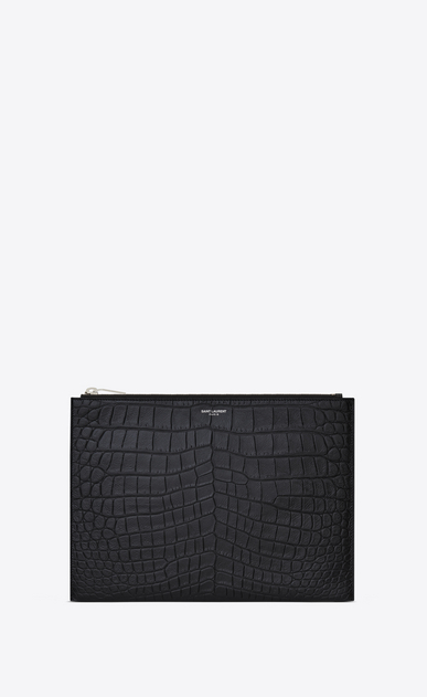SAINT LAURENT Saint Laurent Paris SLG U Classic SAINT LAURENT PARIS Zipped Tablet Sleeve in Black Crocodile Embossed Leather a_V4