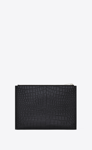 SAINT LAURENT Saint Laurent Paris SLG U Classic SAINT LAURENT PARIS Zipped Tablet Sleeve in Black Crocodile Embossed Leather b_V4