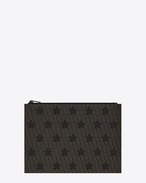 SAINT LAURENT Monogram Stars U Classic TOILE MONOGRAM CALIFORNIA Zipped Tablet Sleeve in Black Printed Canvas and Leather f