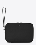 SAINT LAURENT Saint Laurent Paris SLG U Classic SAINT LAURENT PARIS Double Zip Baisenville Bag in Black Grain De Poudre Textured Leather f