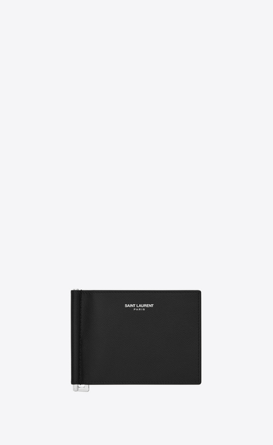 SAINT LAURENT Saint Laurent Paris SLG U classic saint laurent paris bill clip wallet in black grain de poudre textured leather v4