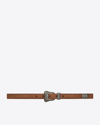 SAINT LAURENT Skinny Belts D WESTERN Belt in Dusty Beige Suede and Brushed Silver-Toned Metal f