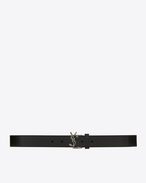 MONOGRAM SAINT LAURENT Serpent Buckle Draped Belt in Black Leather and Brushed Silver-Toned Metal