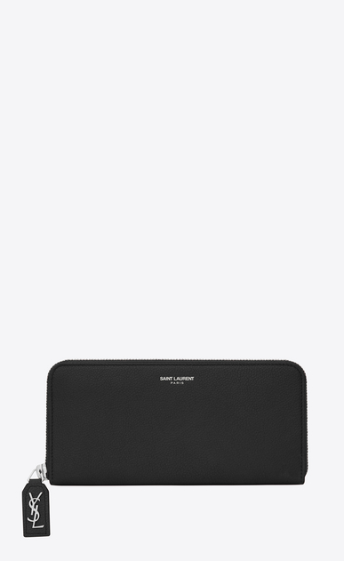SAINT LAURENT Rive gauche SLG D CLASSIC RIVE GAUCHE ZIP AROUND WALLET WITH MONOGRAMMED PULL in BLACK GRAINED LEATHER a_V4