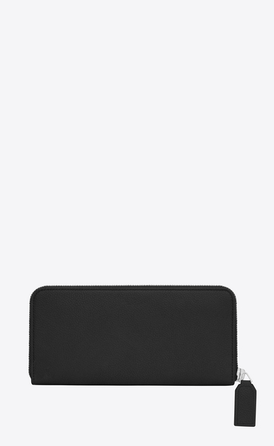 SAINT LAURENT Rive gauche SLG D CLASSIC RIVE GAUCHE ZIP AROUND WALLET WITH MONOGRAMMED PULL in BLACK GRAINED LEATHER b_V4