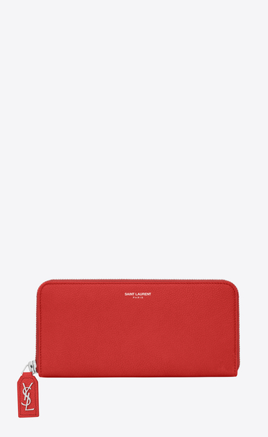 SAINT LAURENT Rive gauche SLG Damen CLASSIC RIVE GAUCHE ZIP AROUND WALLET WITH MONOGRAMMED PULL in RED GRAINED LEATHER a_V4